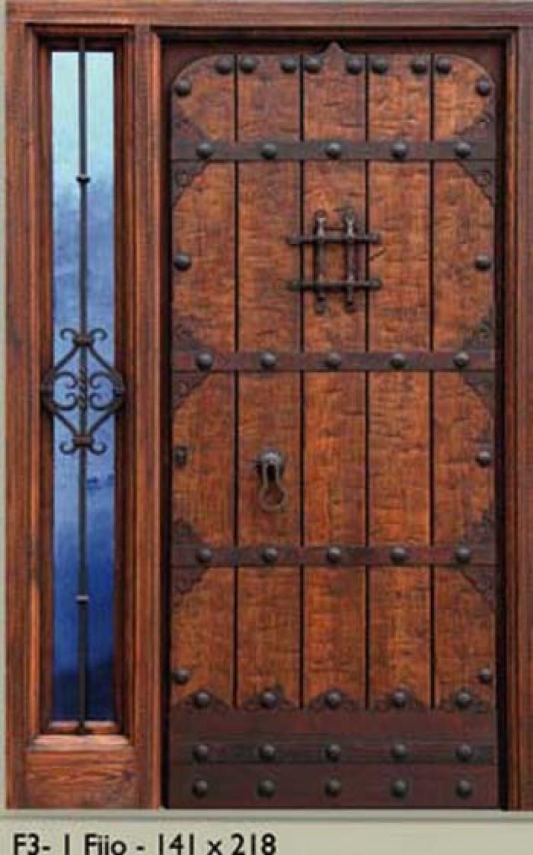 Ref 16052 puerta de exterior con 1 fijo cat logo for Puerta de madera exterior usada