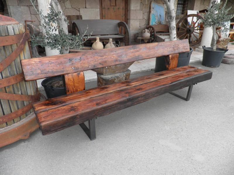 Bancos de madera mesas bancos y sillas cat logo - Bancos de forja para exterior ...