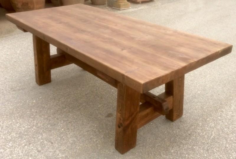 Mesa de madera de pino antiguo. Mide 2.16 cm de larga x 90 cm de ancha x 78 cm de alta.