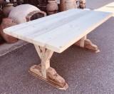Mesa de madera de pino natural maciza. Mide 1.91 cm de larga x 95 cm de ancha x 6 cm de grosor tablero