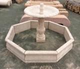 Fuente de piedra travertino. El cerco mide 1.60 cm de diámetro x 8 cm de grueso x 30 cm de alto, la taza mide 80 cm de diámetro x 1.05 cm de altura.