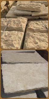 Losa de piedra natural color gris. Acabado abujardado. Tiene 50 cm x largo libre x 9 cm de grueso.