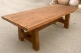 Mesa de madera de pino antiguo. Mide 2.37 cm de larga x 96 cm de ancha x 78 cm de alta.