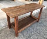 Mueble mesa para baño, con cajón abierto a medida, madera maciza color nogal. Mide 1.60 m x 60 cm x 82 cm de alta