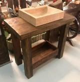 Mueble mesa para baño, con balda y con cajón abierto a medida, madera maciza color nogal. Mide 90 cm x 46 cm x 80 cm de alta