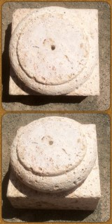 Bases de piedra sueltas, hay dos iguales. Piedra acabado abujardado. Miden 36x36x25 cm de altura.