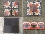 Losa de cemento. Mide 20x20 cm. Mosaico disponible: 5 m2. Negra disponible: 9,50 m2 y cenefa disponible: 8,20 ml. Se vende todo junto.